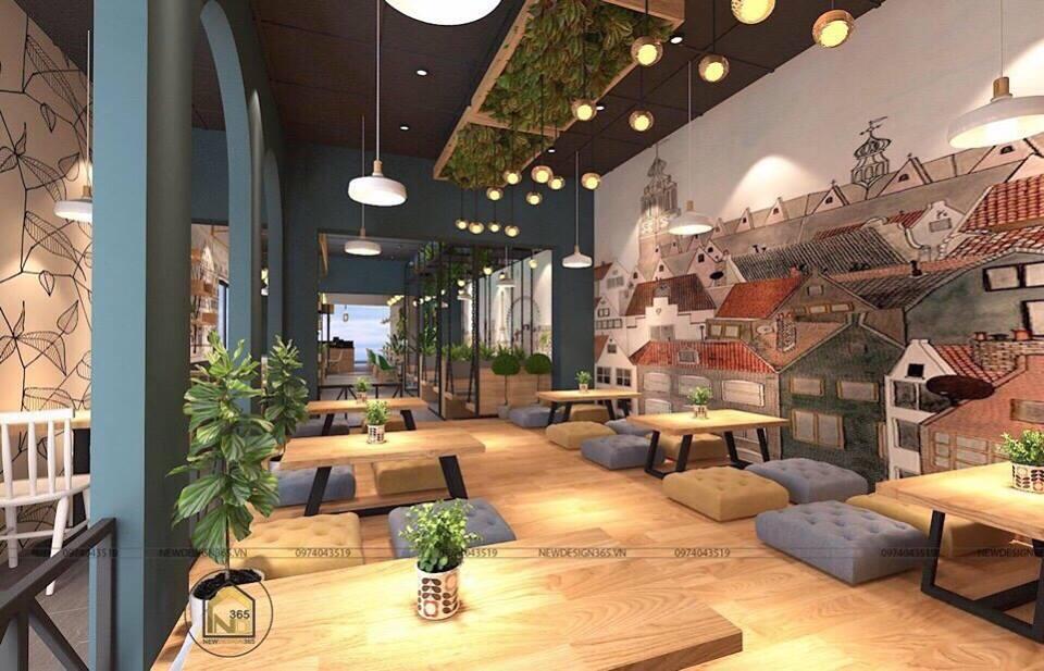 thiết kế không gian quán trà sữa pozaa tea quảng ngãi