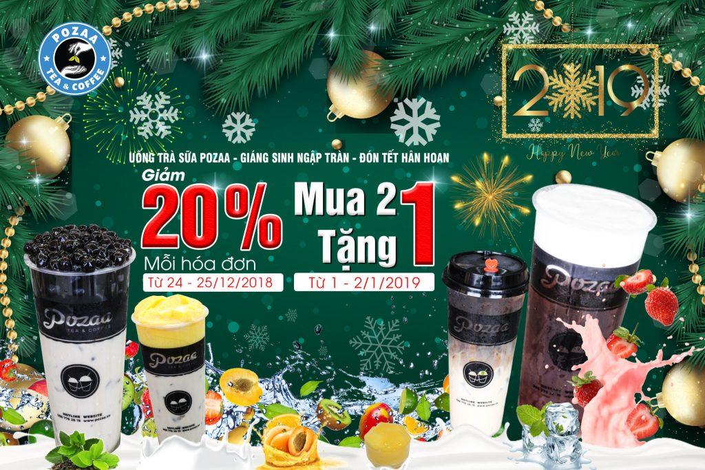uống trà sữa Pozaa - Giáng sinh ngập tràn - đón tết hân hoan