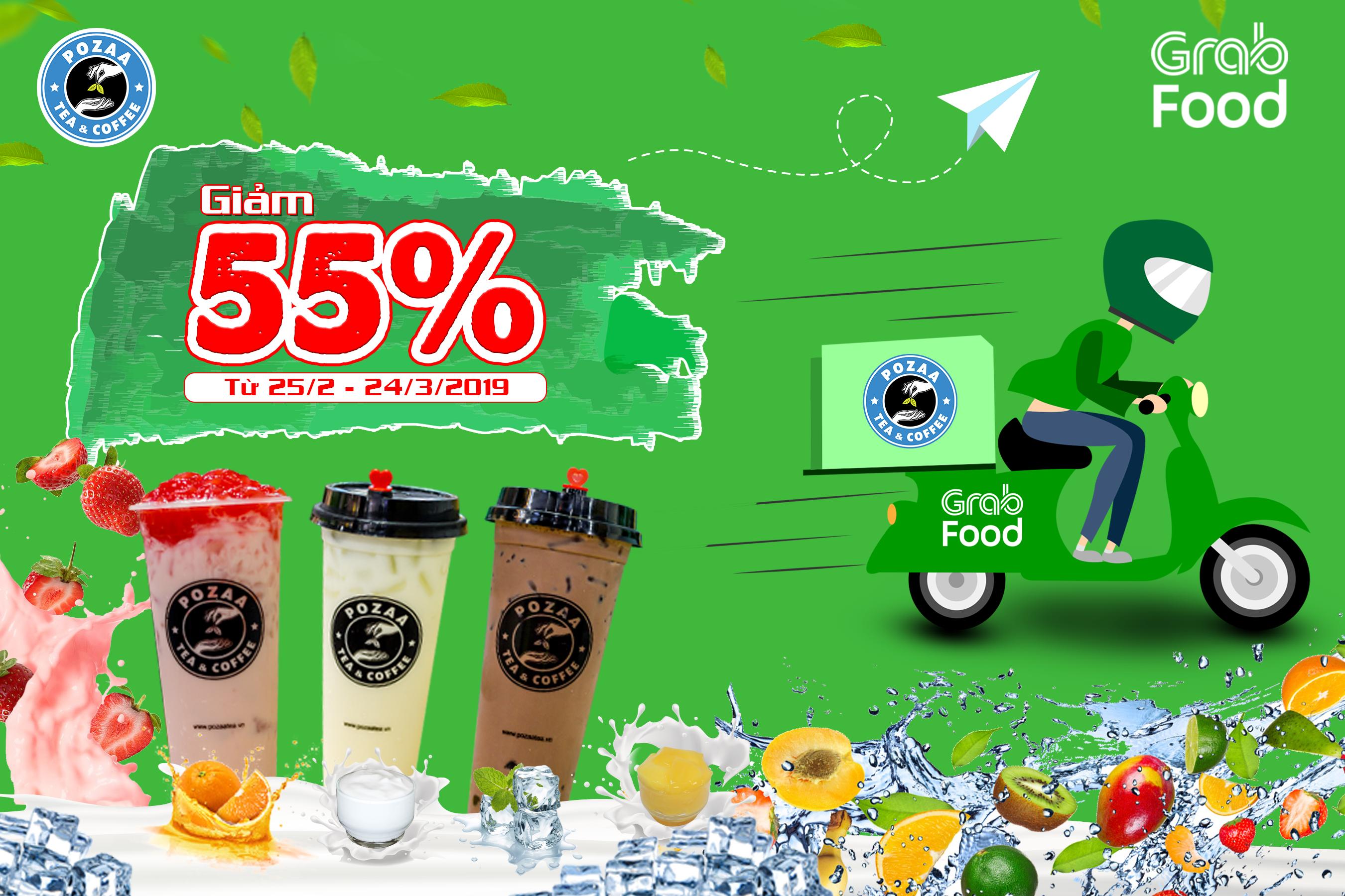 Ưu đãi sock giảm 55% tổng hóa đơn thanh toán khi order qua ứng dụng Grab-Food